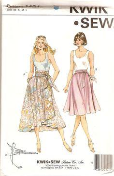Misses Wrap Skirt Pattern Waist 22  32 Size Sml by CherryCorners, $10.00