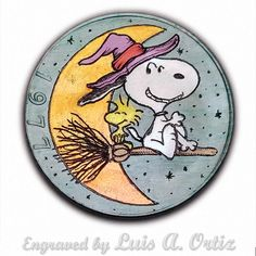 Snoopy's Witching Hour Ike Hobo Nickel Colored & Engraved by Luis A Ortiz Halloween Rocks, Hobo Nickel, Charlie Brown And Snoopy, Christmas Ornaments To Make, Painted Rocks, Wood Crafts, Hand Carved, Carving, History