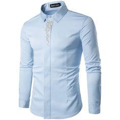 Abetteric Mens Plus Size Premium Stand Collar Draped Tees Work Shirt