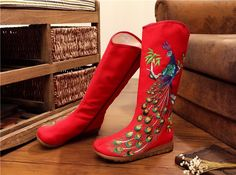Peacock Cloth Embroidered Zipper Ankle Short Boots