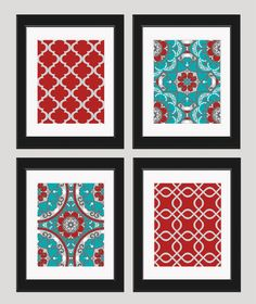 Red and Turquoise Decor Set of 4 Turquoise Kitchen Decor, Aqua Kitchen, Red Kitchen Decor, Kitchen Ideas, Red And Teal, Red Turquoise, Gray Yellow, Red Green, Red Rooms