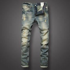 Italian Style Retro Vintage Men Jeans High Quality Slim Fit Brand Ripped Jeans For Men Casual Pants Nostalgia Wash Youth Jeans Ripped Jeans Style, Ripped Jeans Men, Biker Jeans, Jeans Slim, Casual Jeans, High Jeans, Men Casual, Denim Style, Moda Masculina