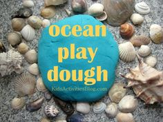 so many creative ways you could play with this ocean play dough - shells, toys, glitter, fish, you name it! #CampSunnyPatch #UnderTheSea