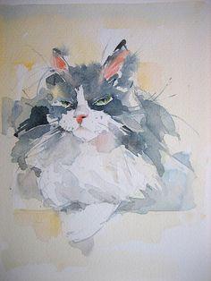 """Aquarell """"Katze"""",17x24 cm"""