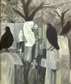 Cemetery with crows on Etsy, $195.00