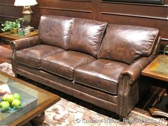 Leather sofa with nailheads available in loveseat, apartment sofa, sofa and chair. Over 1000 fabrics, many cushion options- Country Willow Furniture