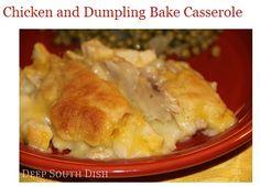 Chicken and Dumpling Casserole recipe - http://www.deepsouthdish.com/2009/02/chicken-and-dumpling-bake.html