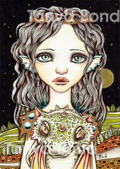 Queen of Dragons  surreal pop lowbrow fantasy art  by tanyabond