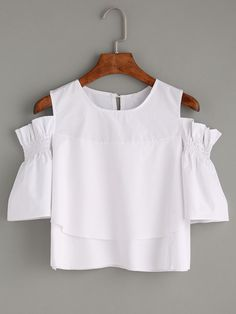 White Ruffled Open Shoulder Blouse