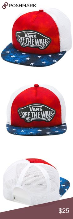 8ca4dd33e57 New VANS Beach Trucker Hat Cap American Flag New Vans The Beach Trucker Hat  is a 100% polyester adjustable trucker hat with an allover print and an Off  The ...