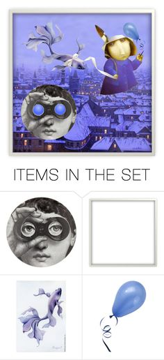 Poster. Through blue glass by m-kints on Polyvore featuring arte