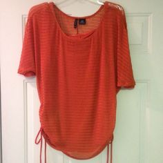 Top ⚡️Orange, 2-piece attached together, like-new, worn twice. Top layer is mesh/see through. Cami is solid. Draw strings at the bortom on the sides. Very comfy⚡️ SMOKE FREE AND PET FREE HOME New Directions Tops Blouses