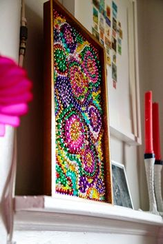 iLoveToCreate Blog: 10 Minute Bead Mosaic   to use up all those random beads and necklaces the girls have! Hang it in the playroom by the dress up center :)