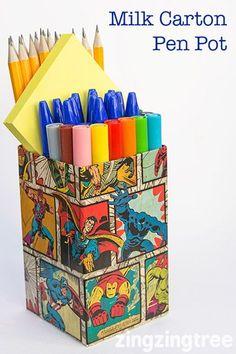 Milk Carton Craft - Upcycle Milk Cartos (tetra packs) into cool funky Pen Pots #recyclingmilkcartons