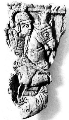 Rilievo in avorio da Nocera Umbra, cavaliere, VII sec. / Ivory from Nocera Umbra, cavalryman, 6th century.