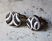 White and brown tile cufflinks