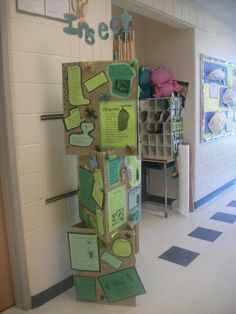 "Pinner says ""Each classroom decides on a theme and then the students create poetry about the theme.  These make an adorable display for April (it is poetry month, I think). To go hand in hand with the project, we compile all of the student poems into a school-wide anthology and give a copy of the anthology to each child! They LOVE it! They read those anthologies cover to cover!"""
