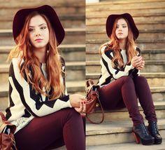 H&M Burgundy Hat, H&M Black&White Sweater, Mizensa Bag, H&M Burgundy Pants