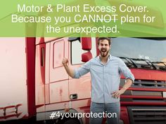 IT IS SAID YOU CANNOT PLAN FOR THE UNEXPECTED. BUT WHAT IF YOU CAN?  You can now LESSEN THE IMPACT OF THEFT, LOSS OR DAMAGE OF YOUR MOTOR AND PLANT items' significantly, by BUYING DOWN your different excesses payable - with Ibiliti's Excess Cover.  By 'Motor and Plant items,' we mean private vehicles -, light delivery (LDVs) and heavy commercial vehicles (HCVs), as well as plant and machinery.   Ibiliti will pay the excess you are obliged to pay where you have claimed against the underlying… Can You Can, Commercial Vehicle, Delivery, Plant, How To Plan, Sayings, Vehicles, Cover, Lyrics