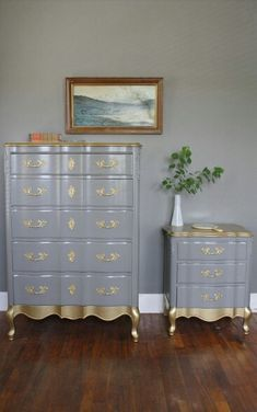 French provincial dresser and nightstand in french grey with a midas touch.