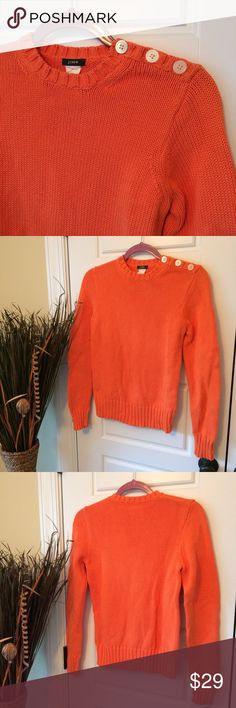 J. Crew Sweater w/Button Detail on Shoulder Gently pre-loved. A couple of darker spots noted on the front (last pic), price reflects. Otherwise in amazing condition! This is a size M, but looks to best fit a size XS-M depending how loose or fitted you'd like to wear it. J. Crew Sweaters Crew & Scoop Necks