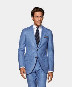 Light Blue Suit, Blue Suit Men, Smart Casual Outfit, Casual Outfits, Business Casual Men, Men Casual, Elegant Man, Dapper Men, Fitted Suit