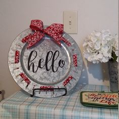 Decorative Galvanized Charger, Home Decor Hello Sign Charger, Home Decor Hello Plate, Country Hello Charger, Galvanized Charger Hello sign by CindysCrafting on Etsy