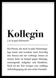 Kollegin Poster Colleague definition poster: DIN / thank you gift colleague, last working day, gift for girlfriend, farewell colleague poster digital prints colleague definition poster DI Last Day At Work, Le Gin, Gifts For Colleagues, Neuer Job, Engagement Decorations, College Gifts, Team Gifts, Definitions, Funny Quotes