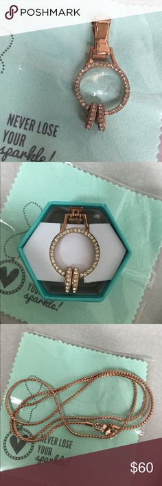 """New Origami Owl necklace Lanyard New in box - never worn!  Rose Gold 30"""" Wheat Lanyard Chain. Lobster claw closure. Separate circle disk with clip to hold id or keycard, etc. Origami Owl Jewelry Necklaces"""
