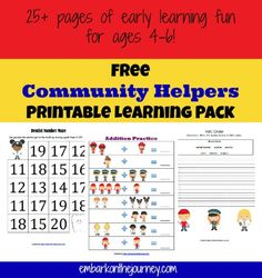 FREE Community Helpers Learning Pack and Resources http://embarkonthejourney.com/free-community-helpers-learning-pack-resources/  #kindergarten #preschool #freebie #printables