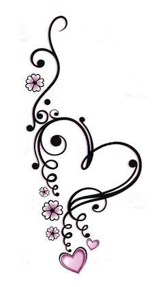 Zwart, roze vector series, Valentijnsdag photo - Tattos Tattoos And Body Art heart tattoo designs Foot Tattoos, Flower Tattoos, Body Art Tattoos, New Tattoos, Small Tattoos, Tatoos, Tattoo Thigh, Heart Flower Tattoo, Tribal Tattoos