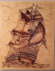 Ship. Wood burning. Pyrography art. Picture.