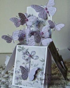 Birthday Butterflies pop up card Card In A Box, Pop Up Box Cards, Card Boxes, Card Kit, Box Cards Tutorial, Card Tutorials, Fancy Fold Cards, Folded Cards, 3d Cards