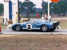 The Dan Gurney - Jerry Grant Ford GT40 Mk. II going into the Hairpin Turn. They led most of the race only to retire with five minutes left. (Bill Stowe photo)