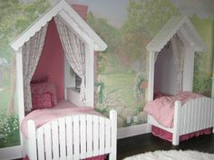 "Alcoves built for twin beds.  Bookcases were built inside each alcove.  The wall is a hand-painted mural depicting a wooded landscape with clouds.  A cute, clever idea to have a little ""hideout"" alcove that is made into a cottage look. http://designdazzle.blogspot.com/2010/09/sweet-cottage-bedroom.html  #child #girls #bed #room #bedroom #canopy #alcove #mural #faux #hand-painted #decor #idea"