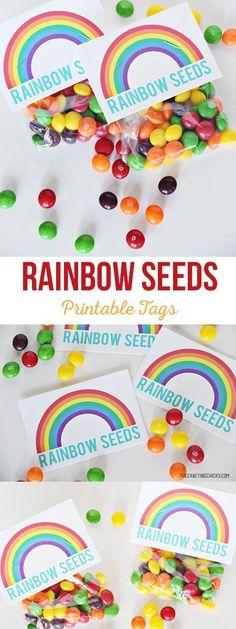 Rainbow Seeds Free Printable - A simple St. Patrick's Day gift idea via @craftingchicks