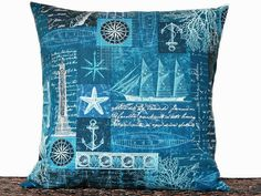 Nautical Coastal Pillow Cover Blue Navy Sailboats by PookieandJack
