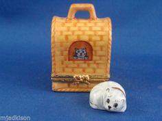 ARTORIA-Striped-Kitty-Cat-in-Cat-Carrier-authentic-FRENCH-LIMOGES-box