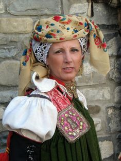 Europe | Portrait of a woman wearing traditional clothes and headdress, Anso, Aragon, Spain