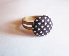 Brown and White Polka Dot Fabric Button and Copper Plated Adjustable Ring by GypsyDreamerCafe, $6.75