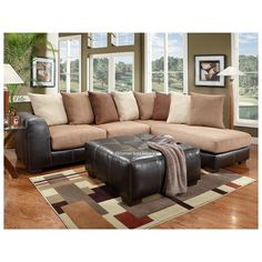 Laredo Mocha Sectional Sofa , Tan and Brown