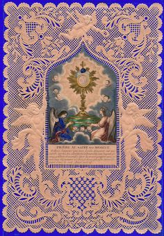 Antique Hand Colored French Adoration Lace Holy Card