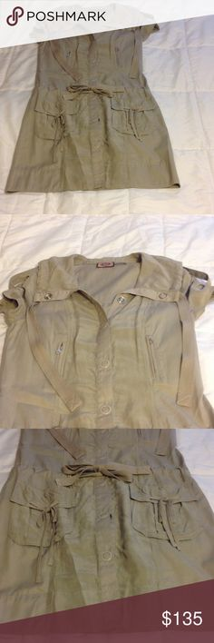 """✂️FINAL CUT✂️JuicyCouture Silk Cargo MilitaryDress Excellent condition- worn once for a few hours. Juicy Couture (Retail) beige/gray cargo pocket military button down dress. Features cargo pockets, tie waist and shoulder tabs. Buttons down entire length of dress. Ribbon gather detail on back with little """"JUICY"""" heart embellishment. All buttons engraved with """"JUICY COUTURE"""". Size 2. No modeling/trades. Reasonable offers welcome via the offer button. Juicy Couture Dresses"""