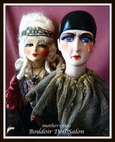 She is a breath taking Blossom  Marie Antoinette boudoir doll. He  is a wonderful  german (?) crying pierrot  boudoir  doll with a  broken  heart.  Just  a  great  pair of dolls.
