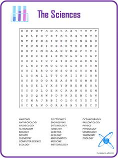 This printable science word search includes 27 words for the different branches of science.  It makes a great way to introduce kids to the subject.