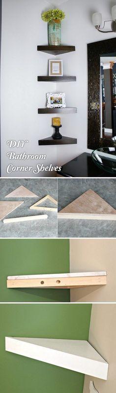 Check out how to build a #DIY corner shelf for a small bathroom #HomeDecorIdeas #BathroomDesign @istandarddesign