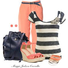 Navy & Coral, created by maggie-jackson-carvalho on Polyvore