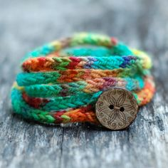 Cord Wrap Bracelet - Button Closure - Hand Dyed Wool Yarn