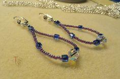 Teardrop Hoop Earrings/Copper Czech glass beads/Silver Seed Beads/Austrian Crystal/Silver Ear wire/Jewelry/Teardrop Hoop/Handmade/Gift Idea by TremorstoTreasures on Etsy