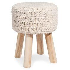 Tabouret en tricot écru TRISHA